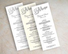 Wedding menu card printable wedding menu diy by appleberryink, $25.00