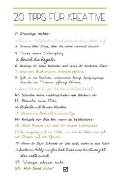 so ist es! Tipps für Kreative und welche wie es werden möchten