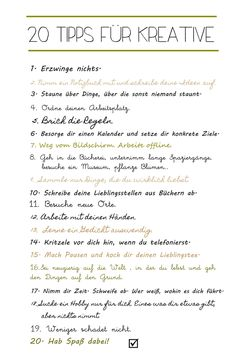 s i n n e n r a u s c h: 20 Tipps für Kreative.