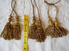 LOT OF 6  ANTIQUE FRENCH GOLD METALLIC TASSELS 19 TH-CENTURY
