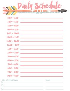 Download this free beautiful daily schedule and keep your To Dos on track.
