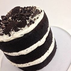 "grooms cake - ""Oreo naked cake deliciousness by @kacyhyder"""