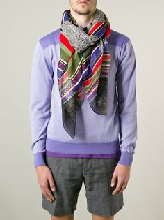 Shop ETRO paisley and stripe print scarf from Farfetch