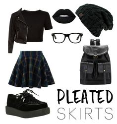 """""""Pleated Skirt"""" by qasoline ❤ liked on Polyvore featuring Chicwish, T.U.K., Ted Baker, New Look, Lime Crime and pleatedskirts"""