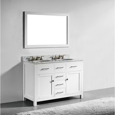 Web Image Gallery  inch White Finish Solid Wood Double Sink Bathroom Vanity with Soft Closing Drawers
