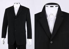 PRADA BLACK THREE BUTTON SPORTS COAT BLAZER JACKET SZ 54R 54 R #Prada #ThreeButton