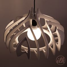 cnc, plywood, white, pendant light. it can be found on https://www.etsy.com/au/listing/175572218/pendant-shade