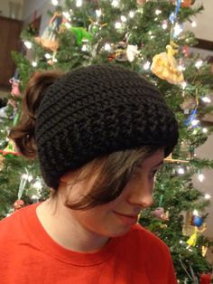Ponytail Hat, Black Messy Bun Cap, Winter Wear by Charlene, Unisex Beanie, Gift for Teen, Present for Busy Mom, MADE TO ORDER by Charlene by crochetedbycharlene on Etsy