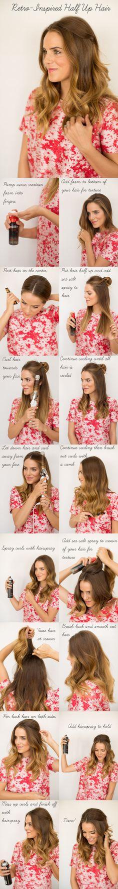 Retro Half Up Hair Tutorial - Gal Meets Glam