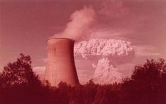 Courtesy of a Facebook poster.  Mt. St. Helens erupting behind the Trojan Nuclear Plant, Oregon, 1980.