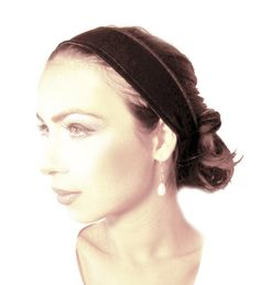 Non-Slip No Slip Headband Head band  Brown Velvet by ShariRoseShop