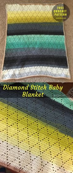 Crochet and Knit Ideas - free  patterns You saved to Blanket free crochet #DiamondStitch #BabyBlanket #FreeCrochetPattern → Baby Blanket | size: 38x35"