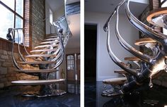Unusual stairs - that look like a spine melting in the floor...sickening...I would walk up stairs more often if they looked like these...