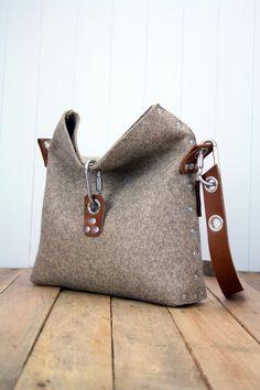 Felt fold over handbag
