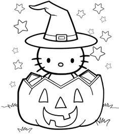 Fall Coloring Sheets, Pumpkin Coloring Pages, Easy Coloring Pages, Cartoon Coloring Pages, Disney Coloring Pages, Free Coloring, Coloring Books, Disney Halloween Coloring Pages, Hello Kitty Halloween