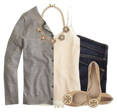 """Gray cardigan, cream cami & statement necklace"" by steffiestaffie ❤ liked on Polyvore featuring Marc by Marc Jacobs, J.Crew, Ann Taylor, Lord & Taylor and Tory Burch"