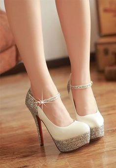 Elegant Paillette High-heeled Shoes - Wedding look