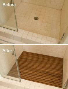 Adding teak to your shower floor instantly upgrades the look. Teak is a waterproof material so it's okay to use in the shower. #bathroompictures #smallbathroomremodeling