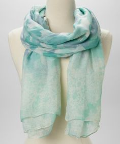 Mint & White Abstract Butterfly Scarf