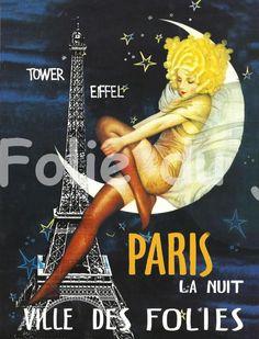 Antique French advertising print - eiffel tower Paris la Nuit ville des Folies poster Moon