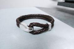 www.877workshop.com — Men's bracelet braided brown leather Sterling Silver hook