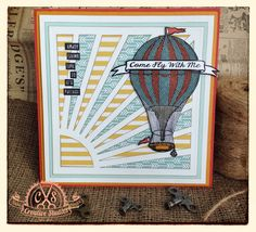 'Come Fly With Me' Hot Air Balloon Card using 'Up, Up and Away' rubber stamp set designed by Sam Poole