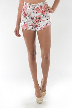 High Waist Flower Print Denim Shorts In White With Fringed Edges