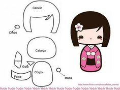 Free Kokeshi Doll Felt Template and Tutorial Felt Diy, Felt Crafts, Kids Crafts, Fabric Dolls, Paper Dolls, Sewing Crafts, Sewing Projects, Felt Patterns, Doily Patterns