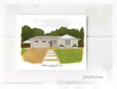 House Illustration Custom House Portrait New Home Gift Personalized Housewarming Gift Custom Home Portrait Personalized Home Illustration