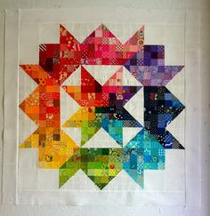 """Oooohhh! I love this """"Scrappy Spectrum Swoon' mini-quilt top by Briawana of Purple Poppy Quilts."""