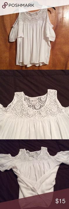 Cute white cold shoulder top with lace Cute white cold shoulder top! worn only once! It is like new without tags. It's flowy and light.It is 100% rayon with cotton/nylon lace. Tops