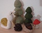 $4.50 Woodland forest pieces crochet pattern - Trees, pinecone, acorn, mushroom, twine basket and snail - accessories for gnome homes