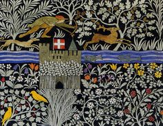 'The Huntsman' textile design by C F A Voysey, produced in 1919