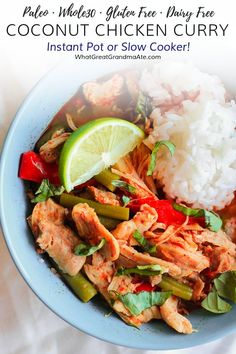 You'll realize takeouts are overrated once you make this paleo and slow cooker or Instant Pot coconut chicken curry, that's full of flavor! It's so easy and delicious. Serve with cauliflower rice for RESTART®️. Coconut Curry Chicken, Chicken Curry, Healthy Chicken Recipes, Real Food Recipes, Primal Recipes, Free Recipes, Instant Pot Pressure Cooker, Whole 30 Recipes, The Best