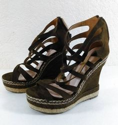 "Desire by Jacobies Brown Strappy Faux Suede Wedge 5"" Heel Open Toe Size 7.5 #DesirebyJacobies #PlatformsWedges"
