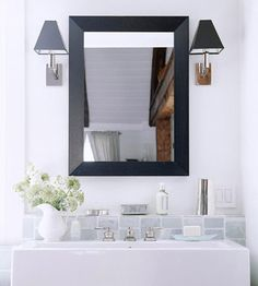 simple mirror and sconces
