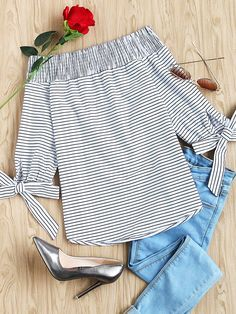 Shop Striped Smocked Off The Shoulder Self Tie Sleeve Top online. SheIn offers Striped Smocked Off The Shoulder Self Tie Sleeve Top & more to fit your fashionable needs.