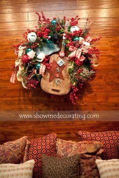 Christmas Wreath -Rustic Western Cowboy.  www.showmedecorating.com