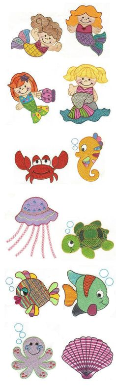 Under The Sea Filled Embroidery design set available for instant download at designsbyjuju.com
