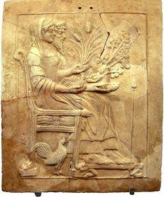 Pinax of Persephone and Hades from Locri. Reggio Calabria, National Museum of Magna Graecia.