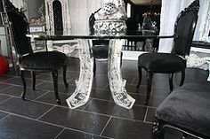 glass glam dining room tables - Google Search