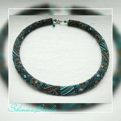 Elegant teal patchwork bead crochet necklace handmade jewelry