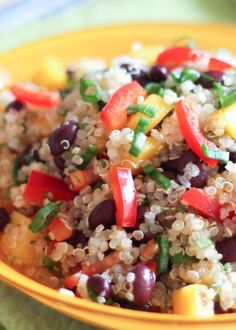 Mango Quinoa Salad is a colorful, flavorful dish for any meal! get the recipe at barefeetinthekitchen.com