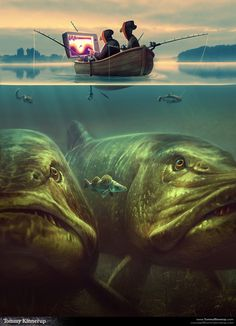 Fish Art by Tommy Kinnerup, via Behance