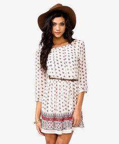 Floral Dress w/ Skinny Beltlt $29.80 (Forever 21)