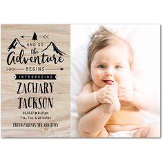 Wild Adventures - Boy Photo Birth Announcements - Hello Little One - Sandstone - Neutral : Front