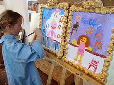 kinderfeestje zelfportre schilderen op het atelier van Twan de Vos in Wageningen