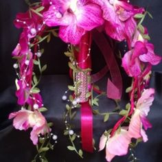 """Pink-Orchideás """"Kifli-csokor"""" Örök-csokor 141130."""