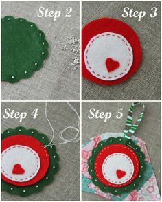 "Plushka's craft: ""Folk flower"" Christmas ornament DIY"