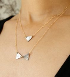 Sterling Silver Triangle Initial Necklace